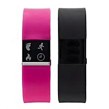 pack de  2 bracelets smart watch - plastique - rose & noir