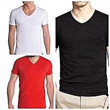 pack de 3 t-shirts - 100% coton - col v - noir-blanc-rouge