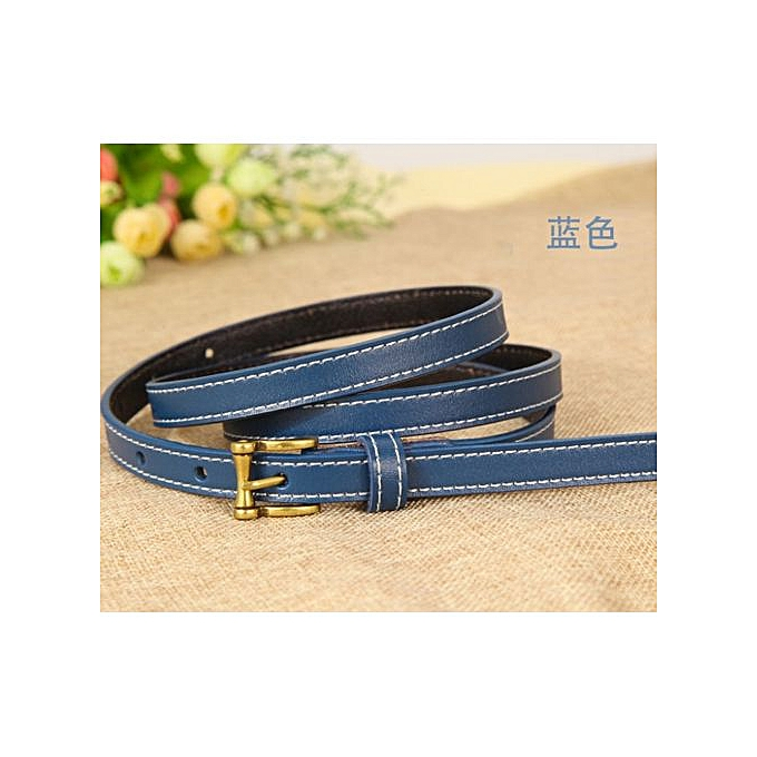 Leather Belt Wild Korean Version Of The Real Cowhide Decorative Jeans Small  Belt Retro Pin Buckle Belt Women-95CM-blue