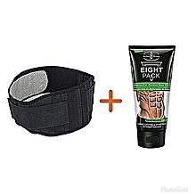 pack ventre plat intense: ceinture lombaire réglable auto-chauffante noir gris + crème ventre brûle graisse