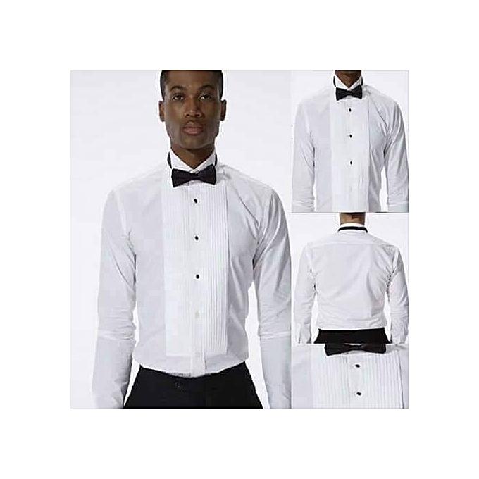 White Label Chemise de smoking 100% coton pour hommes Avec Noeud ... f41014643a6