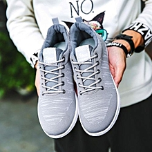mens shoes casual, breathable mesh fashion sneakers men-grey