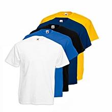 pack 5 t-shirts homme en coton - col rond - manches courtes - bleu marine / jaune / bleu ciel / noir/ blanc