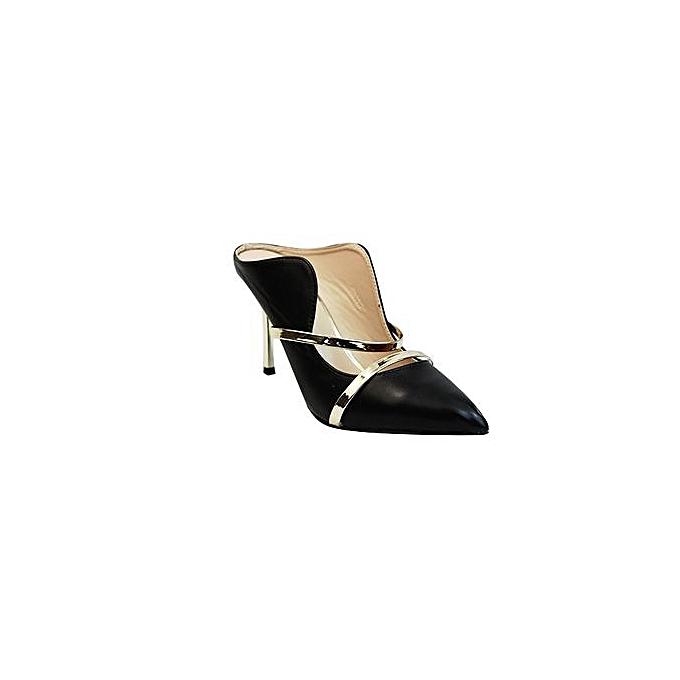 acheter en ligne 556bc 1aaf1 Noir Escarpin Prix Chaussures Mulanka À Simili Cuir Talon 45AjLR
