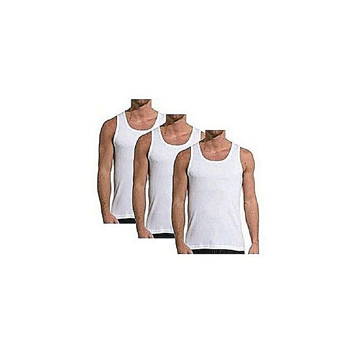 f4a8850d782d4 White Label Lot de 3 Débardeurs Homme - 100 % Coton - Blanc - Prix ...