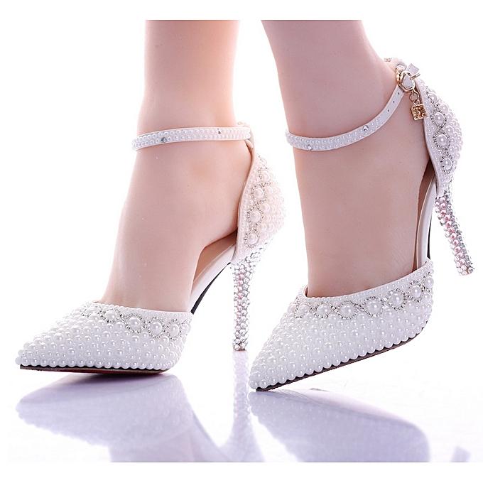 sélection premium e4938 1f719 Chaussure à Talon Cristal Reine de mariage talons - Blanc