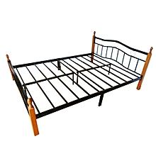 lit avec sommier - 2 places - 140x190 cm - bois et fer