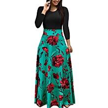 daef922f6ca Robe Femmes Imprimé Floral D  039 été avec maxi patchwork - Décontracté -  Longue
