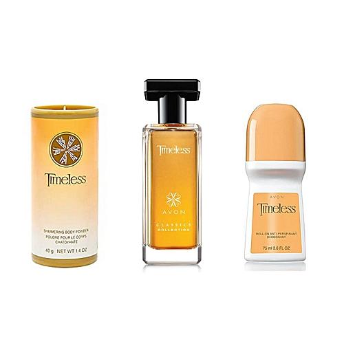 Avon Package Timeless Parfum Déodorant Stick Poudre Talc Prix