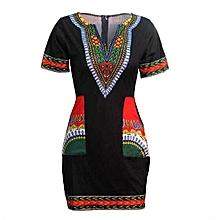 Robe avec Poches en Tissu en Coton Noir Patché avec du Addis Abeba Rouge 5b81f04b3d6