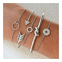 5pcs/set bohemia letter  knot arrow triangle cuff bracelet