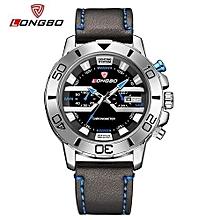 80189 homme marque en cuir militaire militaire japon mouvement montre date calendrier hommes imperméable à l'eau montres-bracelets