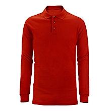 polo uni - coton - manches longues - rouge