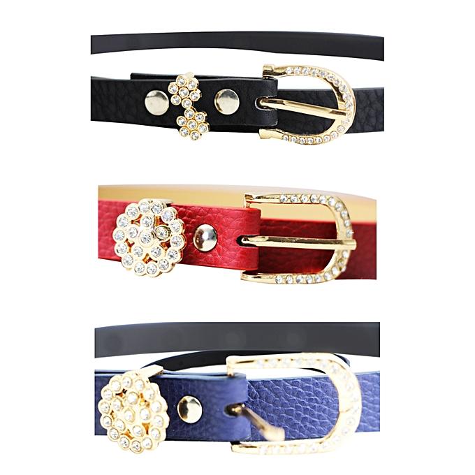 White Label Pack ceinture simili cuir bleu-marron-rouge - Prix pas ... 4f6a9b17284