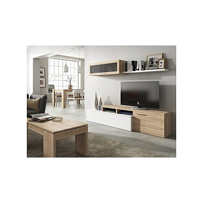 ensemble salon contemporain m lamin ch ne canadien blanc brillant l 200 cm jumia. Black Bedroom Furniture Sets. Home Design Ideas