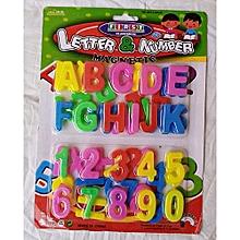 lettres de l'alphabet & chiffres magnétiques - multicolore
