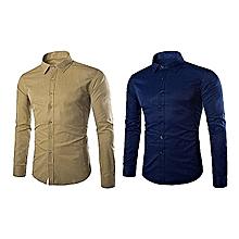 pack de 2 chemises homme - longues manches - beige et  bleu de nuit