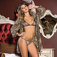 ensemble nuisette chemise de nuit  + soutien-gorge et string motif léopard