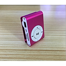 mini fashion portable metal clip mp3 player single card mp3-pink
