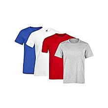 pack 4 t-shirts en coton couleur : bleu / blanc / rouge / gris col rond