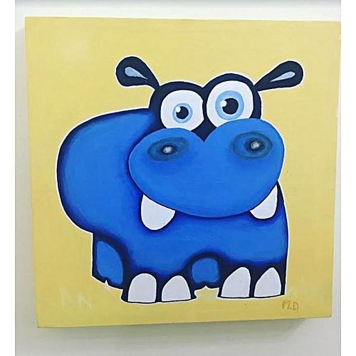 smart gallery tableau d coration chambre d 39 enfant acrylique peint la main l 39 hippo rigolo. Black Bedroom Furniture Sets. Home Design Ideas