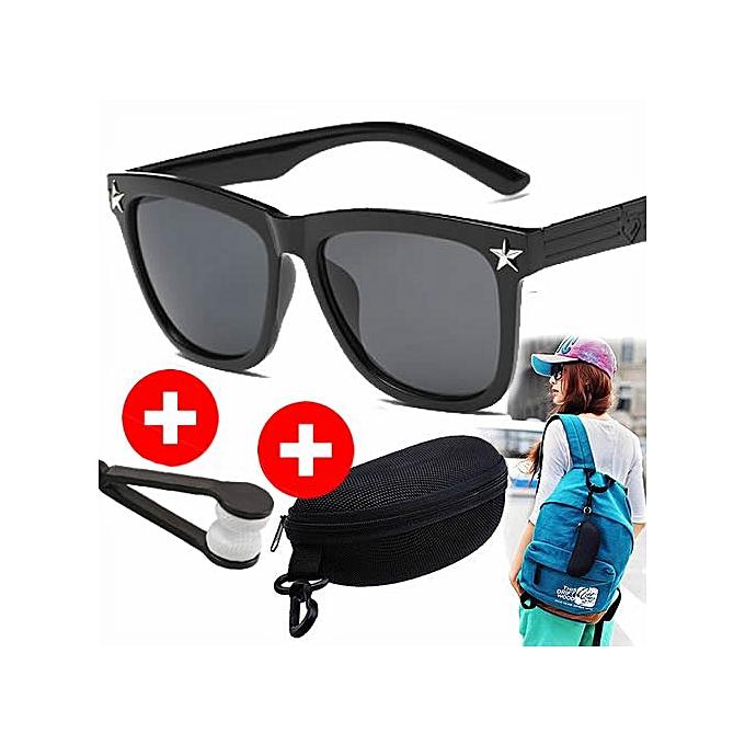c65cc2c1208f1 Lunettes de Soleil Fashion - Cadre Carré en Plastique Noir - Accessoire pour  Homme et Femme