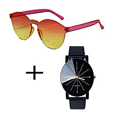 offre d' été: pack montre quartz en simili cuir et lunette de soleil femme