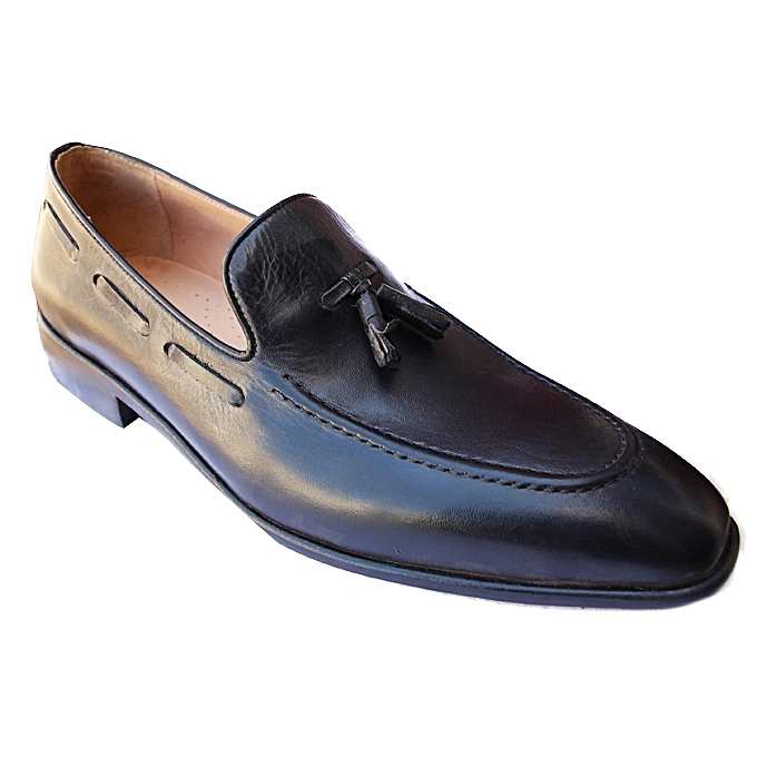 White Label Chaussures de Ville avec Pompons Homme - Cuir - Noir ... e7974b3b2518
