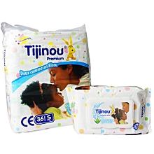 pack 36 couches 3/6 kg + 80 lingettes pour bébé