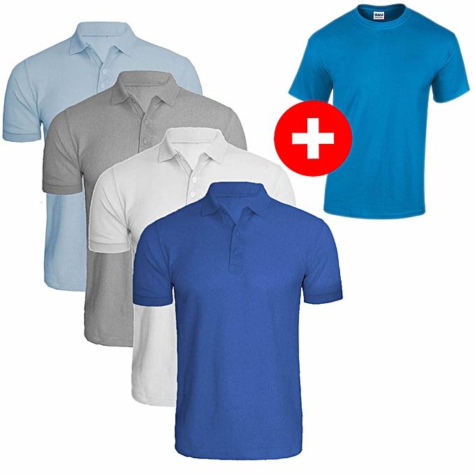 5ffb06d34d2c White Label Pack 4 Polos + 1 T-shirt Bleu Turquoise - Homme en Coton ...