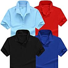 pack 4 polos homme - manches courtes - bleu ciel / bleu royal / rouge bordeaux / noir