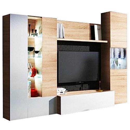 White Label Essencial Meuble Tv Avec Led Blanc Brillant Et Decor