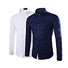 lot de 2 chemises slim fit - bleu de nuit, blanc