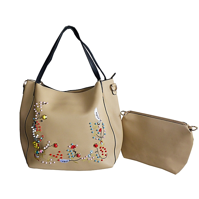 7b588ad479 White Label Ensemble Sac à Main + Pochette avec Design Floral ...