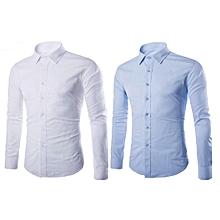 lot de 2 chemises homme -  longues manches - blanc et bleu ciel
