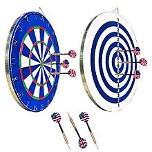 jeu de fléchettes vopa dartboard - 18 pouces en acier à bout souple - avec 6 fléchettes supplémentaires - bleu