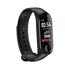 bracelet intelligent - moniteur de fréquence cardiaque, moniteur de sport, messages, appels - noir