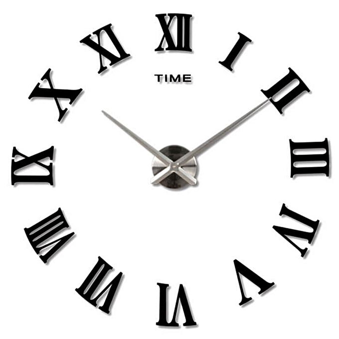 white label horloge murale taille large noire avec des. Black Bedroom Furniture Sets. Home Design Ideas