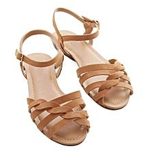 8154d9ce3a4d Sandale nu-pieds a brides marron en similicuir (fabrication locale)