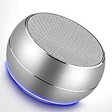 r9 mini haut-parleur sans fil en métal bluetooth led lumière subwoofer haut-parleurs soutien tf fm mic pour iphone samsung téléphone android (argent)