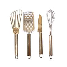 ensemble grattoir  + couteau + spatules et fouet - 4 pièces