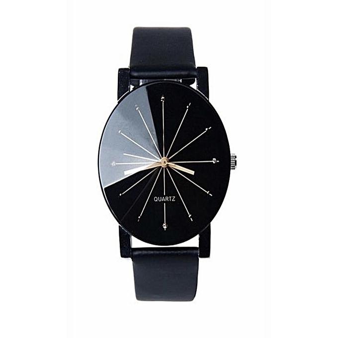 White Label Montre Quartz - Bracelet en Cuir Pour Homme - Noir ... 7399e0a7682c