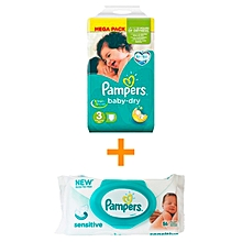 pack 1 mois 72 cocuhes - baby dry - taille 3 (4 - 9 kg) + 56 lingettes sensitives offertes