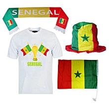 pack sénégal sa kanam :  t-shirt manches courtes + écharpe + drapeau et bonnet aux couleurs du sénégal - multicolore
