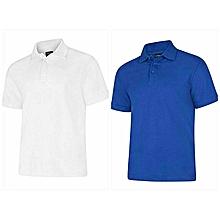 pack 2 polos - courtes manches - blanc et bleu