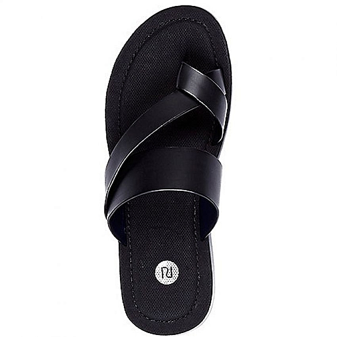 White Label Sandale en Cuir pour Homme - Noir - (FABRICATION LOCALE ... 5e4f9e36e0ae
