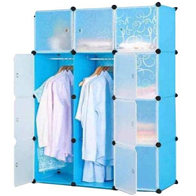 White Label Armoire 3 Battants - Rangement de chaussures - Bleu et ...
