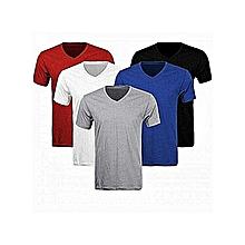 pack 5 t-shirts homme - manches courtes - col v - blanc/bleu /noir/gris/rouge