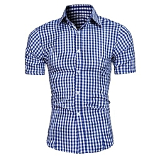 classic small plaid men's short sleeves shirts