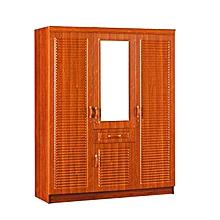 armoire en bois 3 portes et miroir- 150x200cm - formica marron